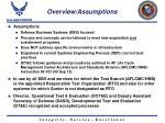 overview assumptions