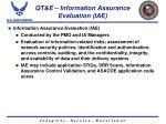 qt e information assurance evaluation iae
