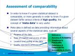 assessment of comparability