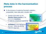 meta data in the harmonisation process