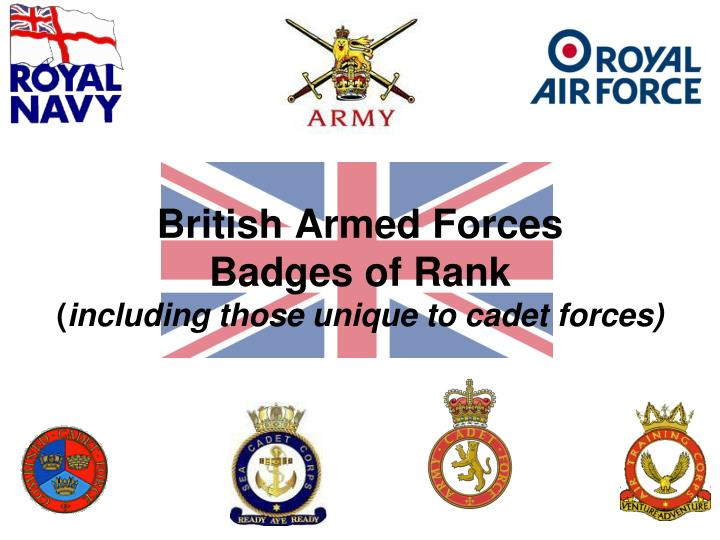 british armed forces badges of rank including those unique to cadet forces n.