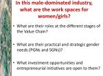 in this male dominated industry what are the work spaces for women girls