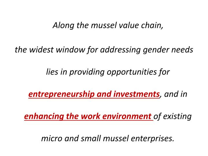 Along the mussel value chain,