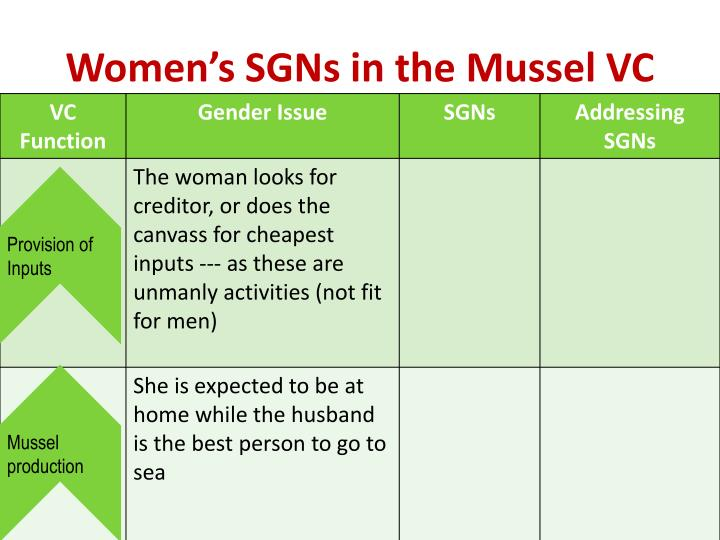 Women's SGNs in the Mussel VC