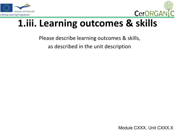 1.iii. Learning outcomes & skills