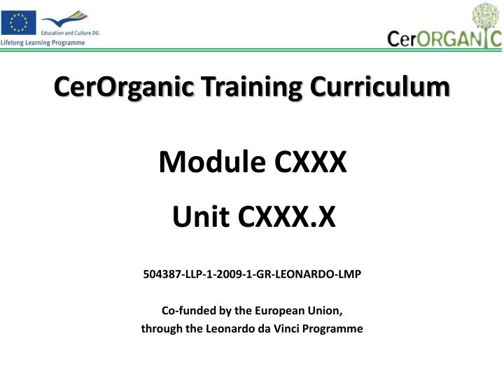 cerorganic training curriculum n.