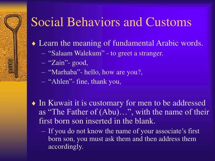 Social Behaviors and Customs