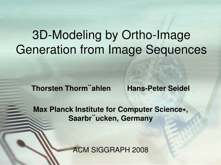 3d modeling by ortho image generation from image sequences n.