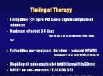 timing of therapy
