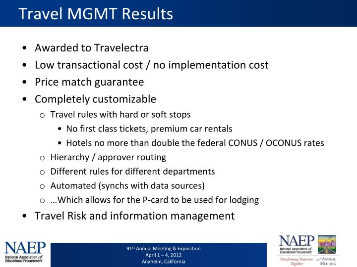 Travel MGMT Results