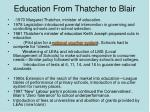 education from thatcher to blair