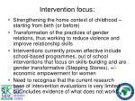 intervention focus