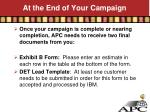 at the end of your campaign