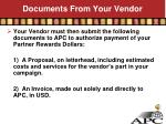 documents from your vendor