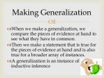 making generalization
