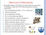 metaller ve zellikleri