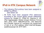 ipv6 in iitk campus network