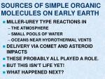 sources of simple organic molecules on early earth