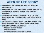 when did life begin