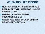 when did life begin1