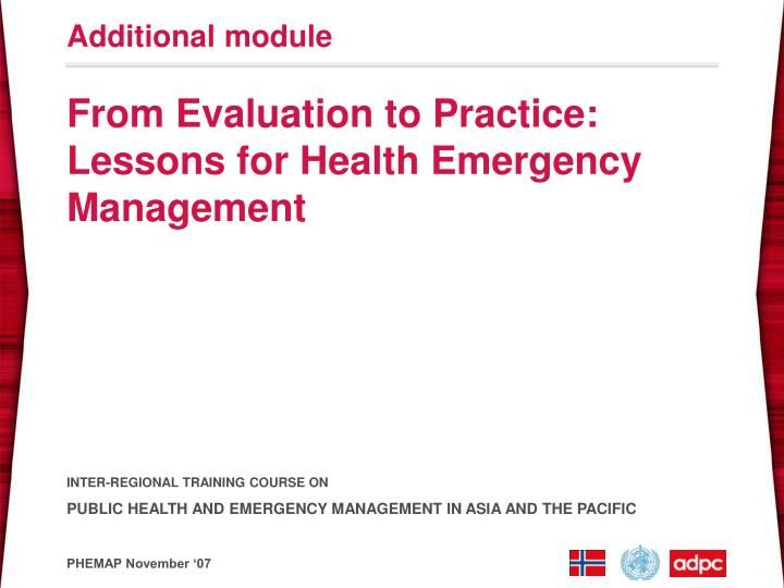 from evaluation to practice lessons for health emergency management n.