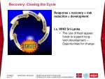 recovery closing the cycle