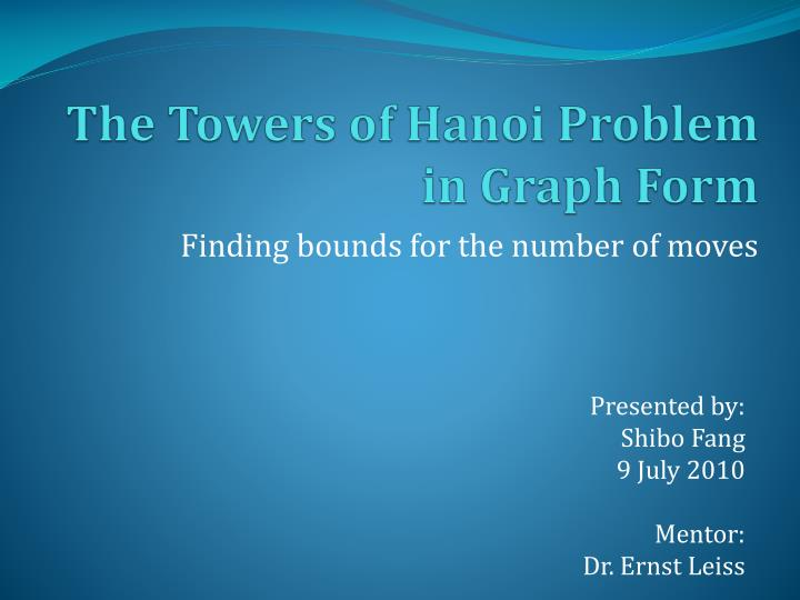 the towers of hanoi problem in graph form n.