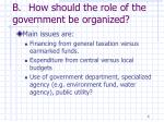 b how should the role of the government be organized