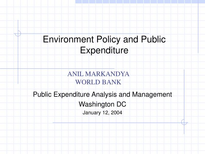 environment policy and public expenditure n.