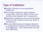 type of institution
