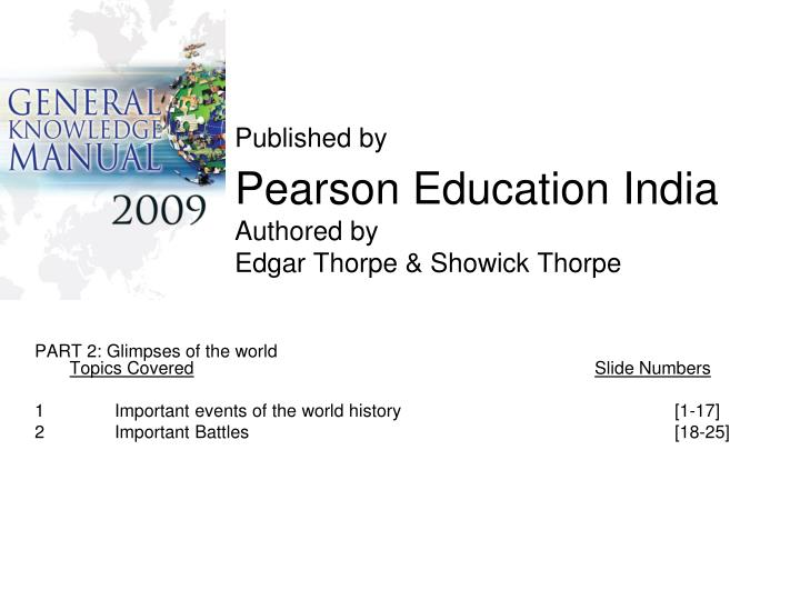 published by pearson education india authored by edgar thorpe showick thorpe n.