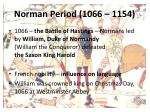 norman period 1066 1154