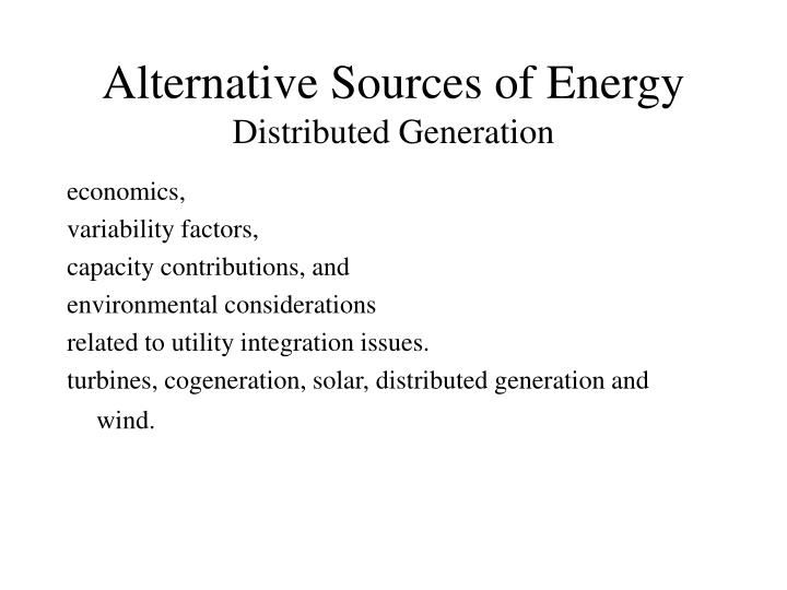 alternative sources of energy distributed generation n.