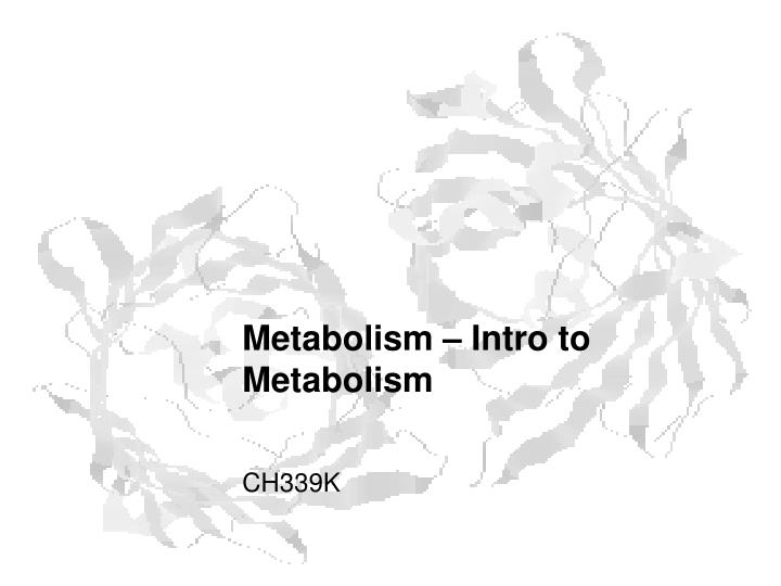 metabolism intro to metabolism n.