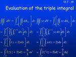 evaluation of the triple integral