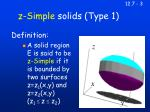 z simple solids type 1