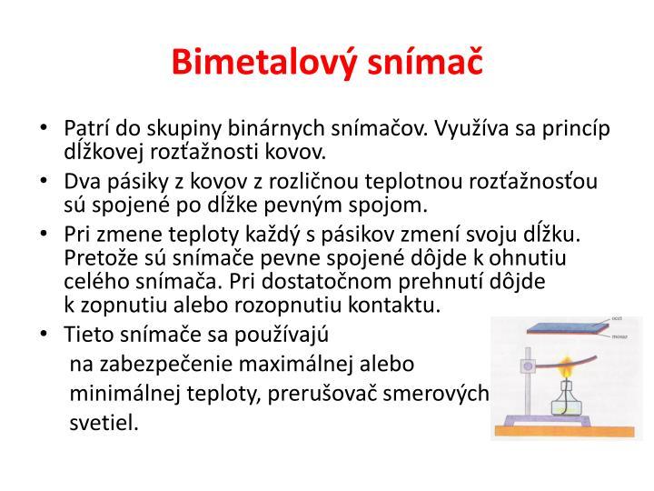 Bimetalový snímač