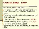 functional forms linear