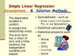 simple linear regression assumptions solution methods