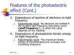 features of the photoelectric effect cont