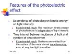 features of the photoelectric effect