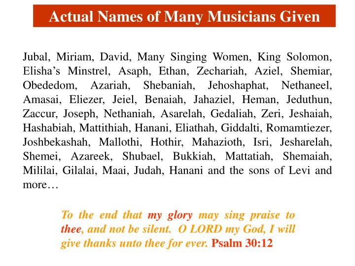 Actual Names of Many Musicians Given