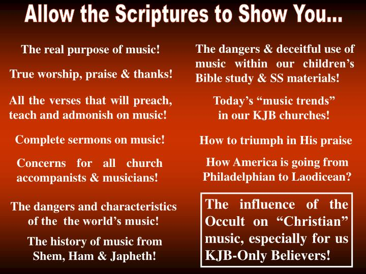 Allow the Scriptures to Show You...