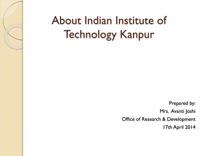 about indian institute of technology kanpur n.
