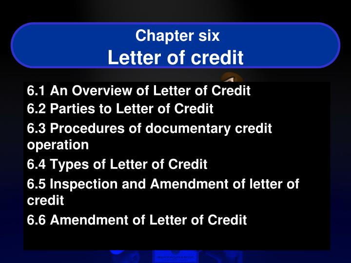 chapter six letter of credit n.