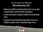 goal 1 content for web site membership info