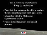 goal 2 technically simple web site easy to maintain