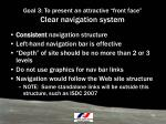 goal 3 to present an attractive front face clear navigation system