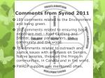 comments from synod 2011