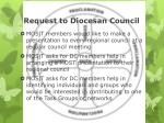 request to diocesan council